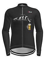 cheap -21Grams Men's Long Sleeve Cycling Jersey Black Oktoberfest Beer Bike Jersey Top Mountain Bike MTB Road Bike Cycling Quick Dry Sports Clothing Apparel / Micro-elastic