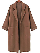 cheap -Women's Fall & Winter Double Breasted Coat Long Solid Colored Daily Basic Light Brown Dark Gray L XL XXL 3XL