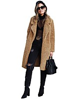 cheap -Women's Fall & Winter Open Front Shirt Collar Coat Long Solid Colored Daily Basic Patchwork Black Army Green Light Brown Camel S M L XL / Work / Slim