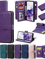 cheap -Case For Samsung Galaxy S20 Ultra Note 10 Plus S10E S9 A81 A91 A01 A11 M11 A10 M10 Wallet Card Holder with Stand Full Body Cases Solid Colored PU Leather