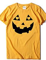 cheap -Women's Halloween T-shirt Graphic Prints Pumpkin Print Round Neck Tops 100% Cotton Basic Halloween Basic Top Yellow Blushing Pink Wine