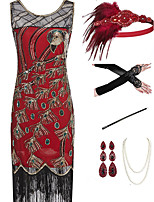cheap -The Great Gatsby Vintage 1920s Vacation Dress Flapper Dress Outfits Masquerade Women's Tassel Fringe Costume Red Vintage Cosplay Party Prom / Gloves / Headwear / Necklace / Bracelets & Bangles