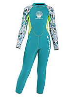 cheap -girls 2.5mm diving suit warm long sleeve full wetsuit back zipper one piece swimsuit green