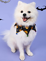 cheap -Dog Cat Halloween Costumes Dog Bandana & Dog Hat Dog Birthday Bandana Hat Skull Pumpkin Birthday Reversible Party Halloween Dog Clothes Double-Sided Costume Polyester S M