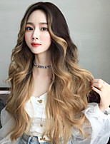 cheap -Synthetic Wig Deep Wave Middle Part Wig Very Long Blonde Synthetic Hair 30 inch Women's Soft Classic Ombre Hair Brown