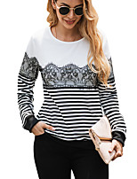 cheap -Women's T-shirt Striped Long Sleeve Lace Patchwork Round Neck Tops Basic Basic Top White