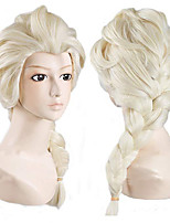 cheap -Synthetic Wig Aisha Anna Frozen II Straight Asymmetrical With Bangs With Ponytail Wig Medium Length Brown Blonde Synthetic Hair Women's Cosplay Adorable Exquisite Blonde Brown