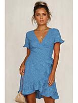 cheap -Women's Wrap Dress Short Mini Dress - Short Sleeve Print Ruffle Summer Strapless V Neck Casual Going out Slim 2020 Blue S M L XL
