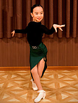 cheap -Latin Dance Skirts Lace Split Joint Girls' Performance Long Sleeve Natural Spandex