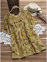 cheap -Women's A-Line Dress Short Mini Dress - Short Sleeve Color Block Lace Ruched Patchwork Summer Casual Vintage 2020 Yellow Green Navy Blue S M L XL XXL