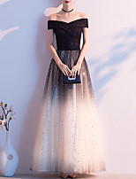 cheap -A-Line Minimalist Vintage Wedding Guest Prom Dress Off Shoulder Short Sleeve Floor Length Tulle with Sequin 2020