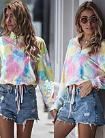 cheap -Women's Hoodie Zip Up Hoodie Cropped Sweatshirt Tie Dye Front Zipper Shirt Collar Sport Athleisure Pullover Long Sleeve Warm Soft Oversized Comfortable Everyday Use Exercising General Use