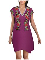 cheap -Women's Tshirt Dress Floral Flower Embroidered V Neck Tops Loose Cotton Basic Basic Top Purple Gray