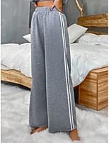 cheap -Women's Basic Daily Wide Leg Pants Striped Breathable Gray S M L