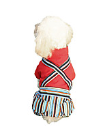 cheap -Dog Hoodie Jumpsuit Stripes Casual / Sporty Fashion Casual / Daily Winter Dog Clothes Breathable Red Blue Costume Polyster S M L XL XXL