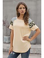 cheap -Women's T-shirt Leopard Striped Cheetah Print Patchwork Print Round Neck Tops Basic Basic Top Black Red Khaki