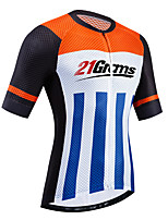 cheap -21Grams Women's Short Sleeve Cycling Jersey Black / White Bike Jersey Top Mountain Bike MTB Road Bike Cycling UV Resistant Breathable Quick Dry Sports Clothing Apparel / Stretchy