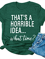 cheap -Women's T-shirt Letter Print Round Neck Tops Cotton Casual Basic Basic Top Green
