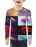cheap -Kids Boys' Active Basic Color Block 3D Graphic Print Long Sleeve Blouse Rainbow