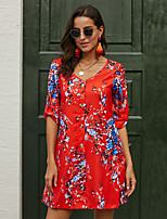 cheap -Women's Shift Dress Short Mini Dress - 3/4 Length Sleeve Print Print Spring V Neck Casual Cotton Loose 2020 Black Orange S M L XL