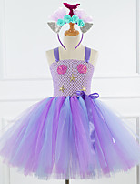 cheap -Mermaid Dress Costume Girls' Movie Cosplay Tutus Braided / Cord Vacation Dress Purple / Light Purple Dress Headwear Christmas Halloween Carnival Polyester / Cotton Polyester