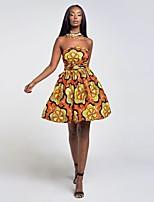 cheap -Women's Swing Dress Knee Length Dress - Sleeveless Print Patchwork Spring Summer V Neck Casual Elegant Slim 2020 Black Blue Red Yellow Orange Gold S M L XL
