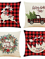 cheap -1 Set of 4 pcs Christmas Series Decorative Linen Throw Pillow Cover 18 x 18 inches 45 x 45cm For Home Decoration Christmas Decoration