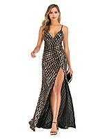 cheap -Mermaid / Trumpet Glittering Sexy Party Wear Prom Dress Spaghetti Strap Sleeveless Floor Length Spandex with Split 2020