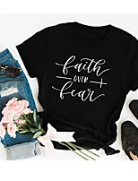 cheap -Women's Faith T-shirt Graphic Prints Letter Print Round Neck Tops Cotton Basic Basic Top Black Red Yellow