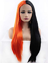 cheap -relas half black half orange lace front wigs, long straight synthetic glueless wig for women girls, halloween cosplay makeup or daily replacement hair 24inch