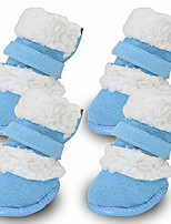 cheap -dog australia boots pet antiskid shoes winter warm skidproof sneakers paw protectors 4-pcs set,dog boots perfect for small dogs(blue)
