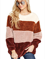cheap -Women's Basic Color Block Pullover Long Sleeve Sweater Cardigans Crew Neck Round Neck Fall Winter Red