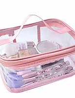 cheap -toiletry bag makeup cosmetic clear bag portable waterproof transparent travel large storage pink