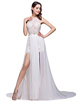 cheap -A-Line Elegant Minimalist Party Wear Formal Evening Dress Halter Neck Sleeveless Sweep / Brush Train Lace with Pleats Split 2020