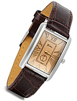 cheap -women's square watch retro vintage silver tone case crocodile pattern brown leather business casual dress bracelet wrist watch