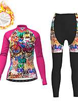 cheap -21Grams Women's Long Sleeve Cycling Jacket with Pants Winter Fleece Fuchsia Bike Fleece Lining Breathable Warm Sports Graphic Mountain Bike MTB Road Bike Cycling Clothing Apparel / Micro-elastic