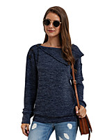 cheap -Women's Basic Knitted Solid Color Plain Pullover Long Sleeve Sweater Cardigans Crew Neck Round Neck Fall Winter Blue