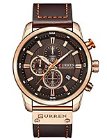 cheap -men leather strap military watches men's chronograph waterproof sport wrist date quartz wristwatch gifts (gold brown)