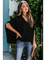 cheap -Women's Blouse Shirt Solid Colored Long Sleeve Cut Out V Neck Tops Loose Basic Basic Top White Black Red