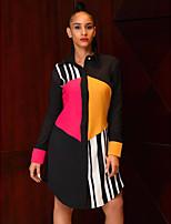 cheap -Women's Shirt Dress Knee Length Dress - Long Sleeve Print Patchwork Spring Fall Shirt Collar Casual 2020 White Black S M L XL XXL