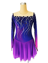 cheap -Figure Skating Dress Women's Girls' Ice Skating Dress Violet Glitter Patchwork Spandex High Elasticity Competition Skating Wear Handmade Crystal / Rhinestone Long Sleeve Ice Skating Figure Skating
