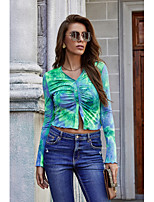 cheap -Women's Blouse Shirt Tie Dye Long Sleeve Pleated V Neck Tops Slim Basic Streetwear Basic Top Green / Crop
