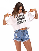cheap -Women's T-shirt Letter Cowl Neck Tops Basic Basic Top White Black Wine / Crop