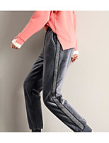 cheap -Women's Basic Daily Chinos Pants Striped Breathable Black Purple Gray S M L
