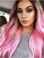 cheap -Synthetic Wig Body Wave Middle Part Wig Long Violet Pink Purple / Blue Synthetic Hair 65 inch Women's Party Highlighted / Balayage Hair Middle Part Blue Pink