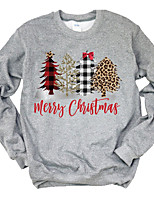 cheap -Women's T-shirt Letter Long Sleeve Print Round Neck Tops Basic Christmas Basic Top White Gray