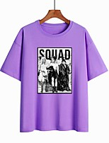 cheap -Women's T-shirt Letter Print Round Neck Tops 100% Cotton Basic Basic Top White Black Purple