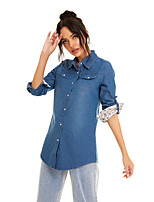 cheap -Women's Blouse Shirt Solid Colored Long Sleeve Pocket Denim Patchwork Shirt Collar Tops Slim Basic Basic Top Blue Light Blue / Print