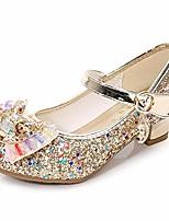 cheap -kids girls mary jane flats wedding party shoes glitter sequins uniform school ballerina shoes gold 1.5 m us little kid