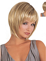 cheap -Fashion Wig Women Oblique Bangs Short Hair Slightly Curled Fluffy Golden Synthetic Hair Wigs